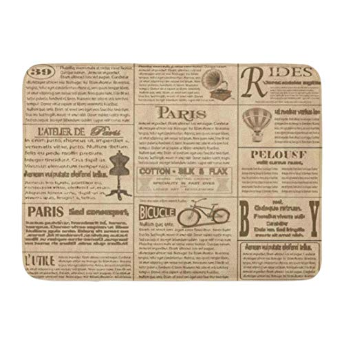 GTdgstdsc Doormats Bath Rugs Outdoor/Indoor Door Mat Paris Old Newspaper French Vintage Corset Pattern Aged Balloon Bathroom Decor Rug 16
