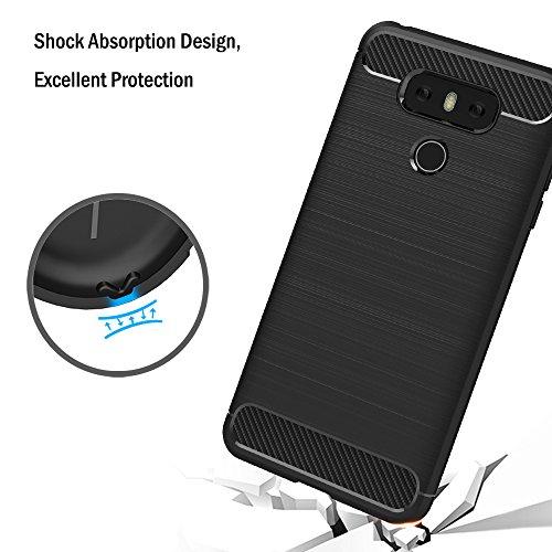 Funda LG G6, AICEK Negro Silicona Fundas para LG G6 Carcasa LG G6 Fibra de Carbono Funda Case (5,7 Pulgadas) Negro