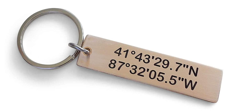Coordinates GPS Keychain Personalized keychain Coordinates Keychain Gift for him Graduation Keychain for him Boyfriend Gift 006