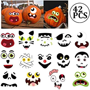 Jollylife Pumpkin Decorating Craft Stickers Kids Make Your Own Jack O Lantern Face Decals Halloween Party Decorations 42ct