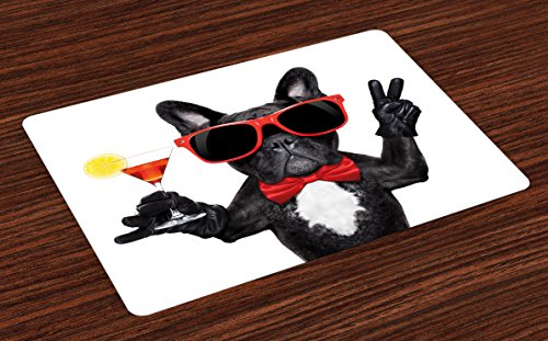 Lunarable Funny Place Mats Set of 4, French Bulldog Holding Martini Cocktail Ready for The Party Nightlife Joy Print, Washable Fabric Placemats for Dining Room Kitchen Table Decor, White Black ()