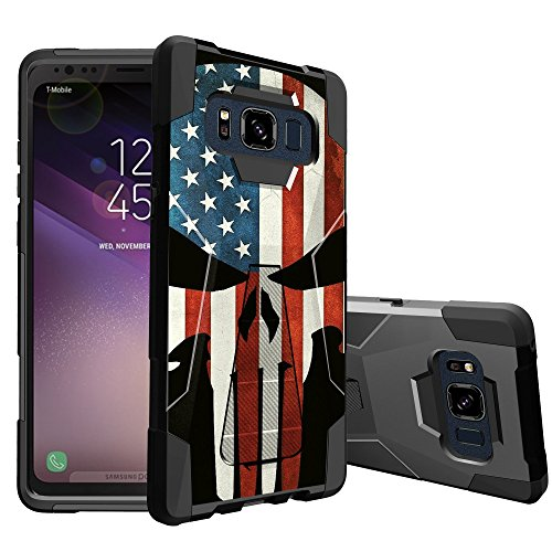 MINITURTLE Case Compatible w/Stand Case Compatible w/Samsung Galaxy S8 Active SMG892A [ Vertical/Horizontal Stand ][ DualLayer Silicone & Hard Shell Case ] American Flag Skull