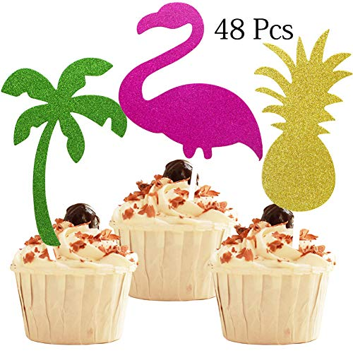 YuBoBo Luau Party Decorations 48PCS Glitter Cake Toppers Flamingo Pineapple Coconut Tree Food/Appetizer Picks FOR Summer Hawaiian Party Cupcake Decorate Supplies