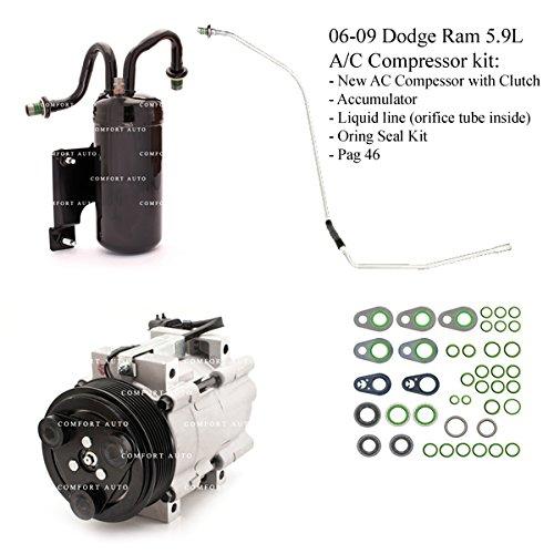 2006 2007 2008 2009 Dodge Ram 2500 3500 5.9L Diesel New A/C AC Compressor kit 1 Year ()