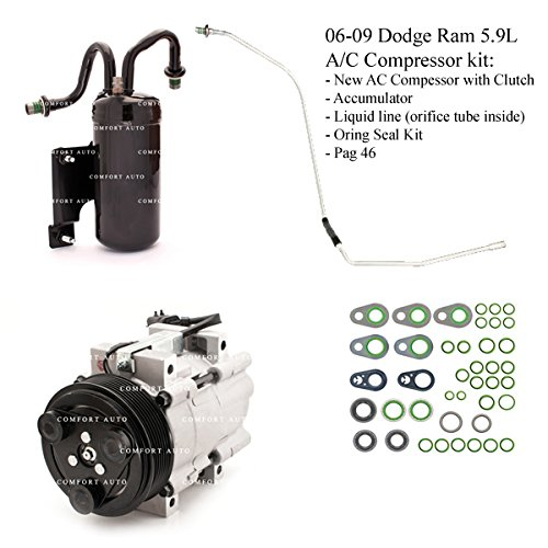 2006 2007 2008 2009 Dodge Ram 2500 3500 5.9L Diesel New A/C AC Compressor kit 1 Year Warranty -