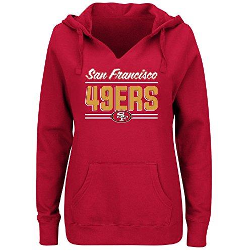 NFL San Francisco 49ers Women FLEECE PULL OVER NOTCH HOOD, RED, 1X