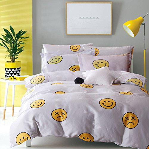 Wake In Cloud - 3pcs Emoji Comforter Set Queen, 100% Cotton Fabric with Soft Microfiber Fill Bedding, Yellow Faces Pattern Printed on Light Gray Grey (Queen Size)