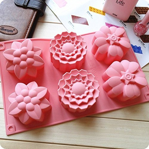 Wocuz 6 Cavities Big Flower Silicone Cake Baking Mold Cake Pan Muffin Cups Handmade Soap Moulds Biscuit Chocolate Ice Cube Tray DIY Mold