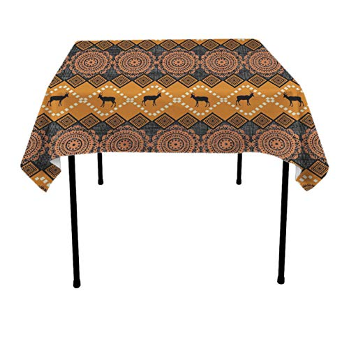 Jinkela Square Tablecloth (52 x 52 Inches), East African Patterns - Perfect for Fall, Thanksgiving, Farmhouse D¨¦cor, Dinner Parties, Christmas, Picnics & Potlucks or Everyday Use
