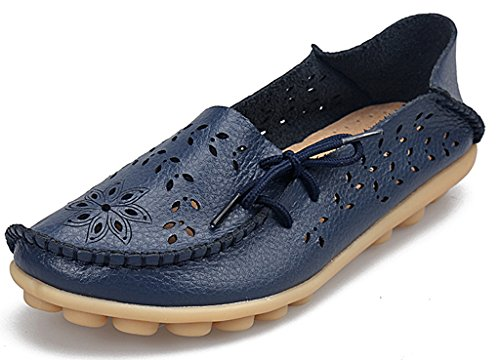 Mocassini Casual In Pelle Da Donna Labatostyle Stile Labato Driving Mocassini Slip-on Slipper Shoes Blu Scuro-02