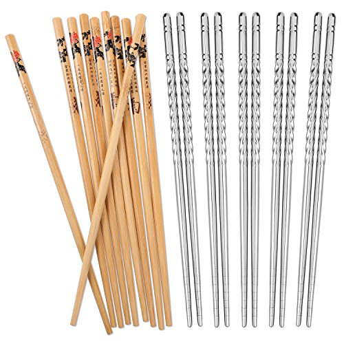 - Hiware 10 Pairs Reusable Chopsticks Set Include 5 Pairs Metal Stainless Steel Spiral Chopsticks and 5 Pairs Natural Bamboo Chopsticks 8.8 Inches, Easy to Hold