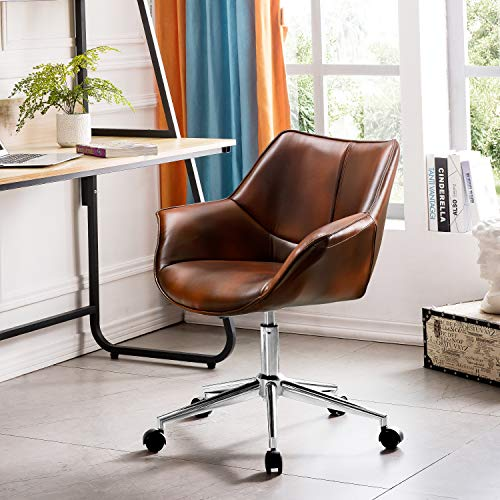 OVIOS Office Chair,Leather Computer Chair for Home Office or Conference.Swivel Desk Chair with Chrome Base and Arms. (Leather & Suede)