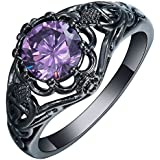 by lucky Women 925 Silver Black Gold Filled Amethyst Gemstone Ring Bridal Wedding Jewelry (7)