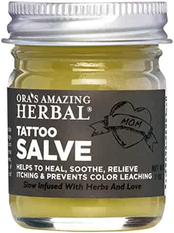 Tattoo Salve, Tattoo Aftercare, Natural Tattoo Aftercare Treatment Salve, No Paraben, No Lanolin (Ointment, Lotion, Cream, Moisturizer) Made In The USA With Organic Herbs, Ora's Amazing Herbal