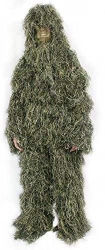 Ghillie Suit M/L Camo Woodland Camouflage Forest Hunting 4-Piece + Bag by VIVO (OUTD-V001M)