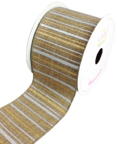 LUV RIBBONS Fabric Ribbon by Creative Ideas, 2-1/2-Inch, Canvas Metallic Stripes, (Toffee Stripe)