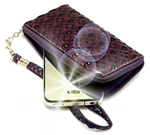 """""""Amor"""" Violeta, Lujosa billetera-sostenedor acolchado con cierre, acabado brillante para Samsung T669 Gravity T. Funda / Estuche en relieve único con correa para teléfonos móviles."""
