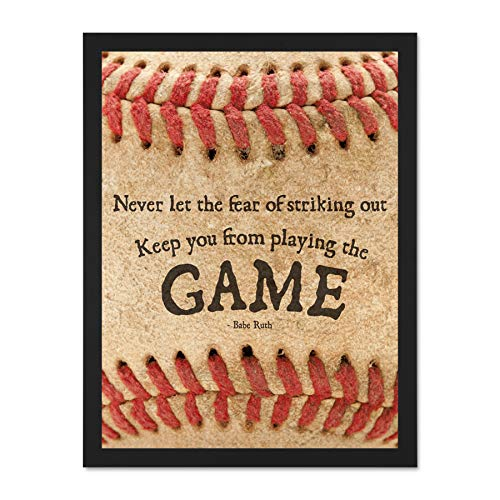 Ruth Framed Babe (Wee Blue Coo Never Let Fear Baseball Sport Quote Typography Babe Ruth Large Framed Art Print Poster Wall Decor 18x24 inch)