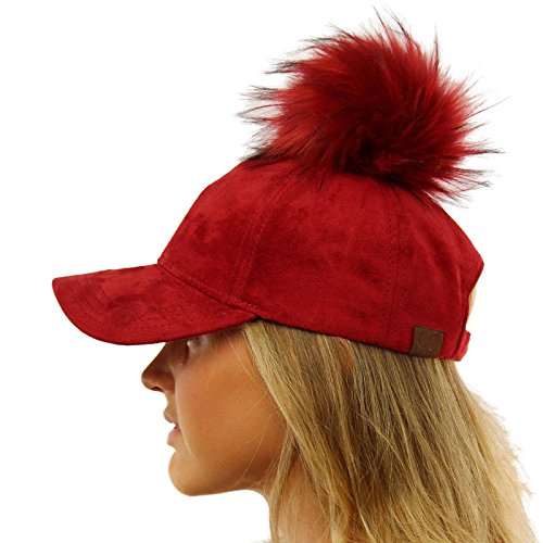 Removable Snap On Off Faux Fur Faux Suede Baseball Adjustable Cap Hat Wine