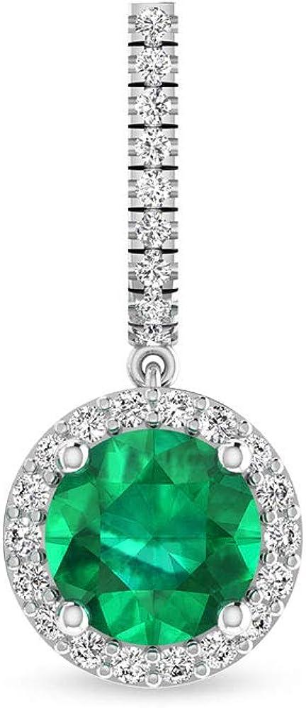 Pendientes de gota con halo de diamante certificado IGI, redondo verde de piedra preciosa IJ-SI diamante cúmulo pendientes colgantes, 18K Oro blanco, Única pieza