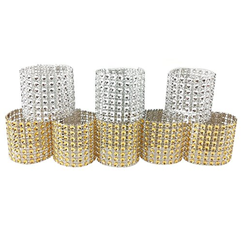 100PCS Rhinestone Napkin Rings Diamond Decoration for Wedding Party Banquet Reception Catering by CSPRING (Napkin Ring)