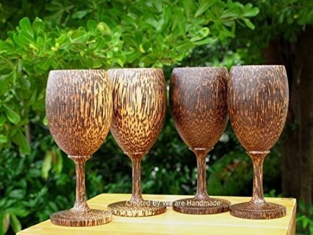 Set 4 Handmade Wooden Wine Glass Glasses (Palm Wood) - A by Alittleeasy