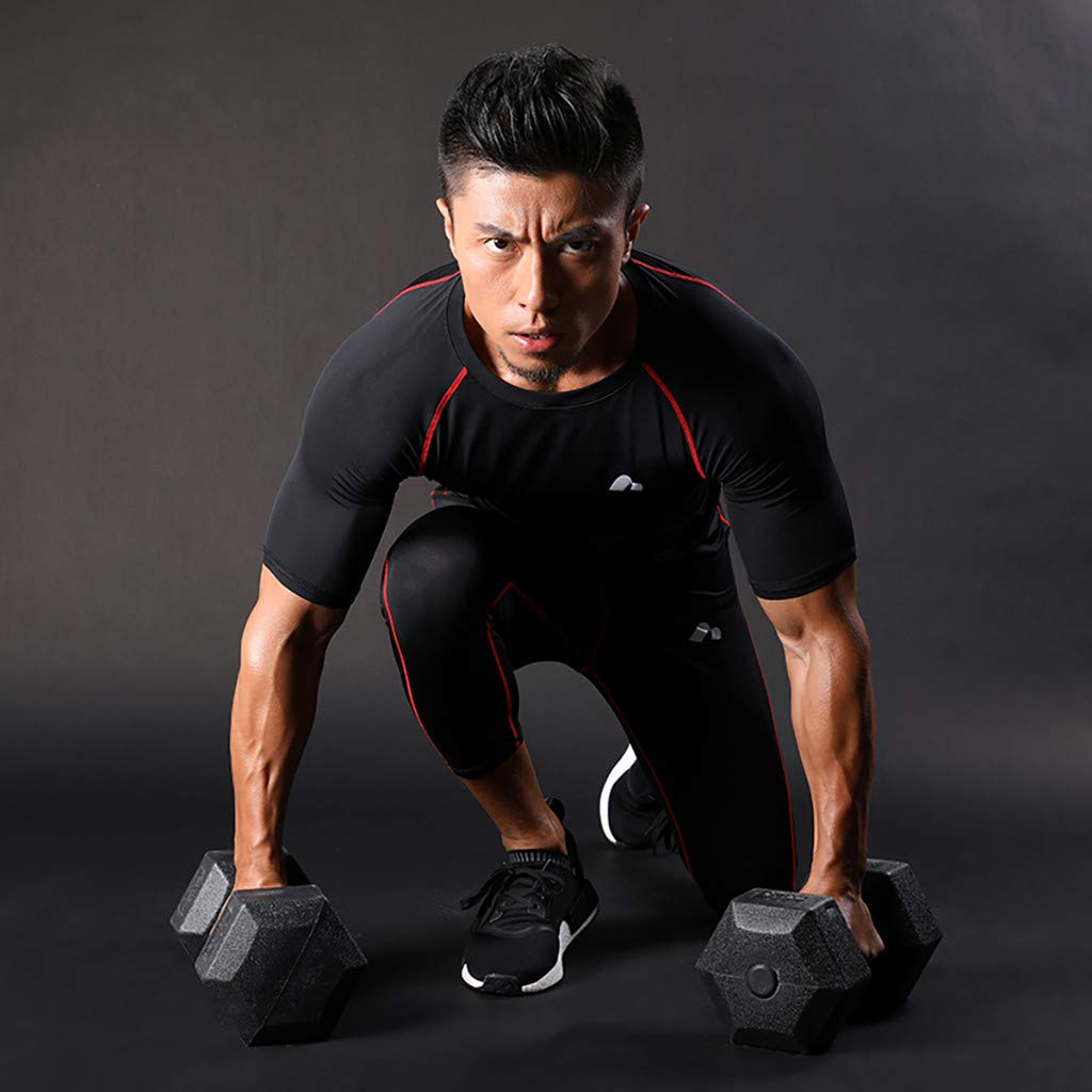 HowLoo Mens Sportswear HIGT Elastic Clothes Fitness Running Jogging Tight Suit Clothes