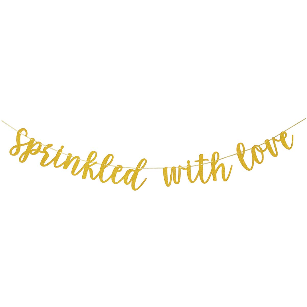 Finseng Sprinkled With Love Gold Glitter Banner Sign Garland for Baby Sprinkle,Baby Shower Decorations