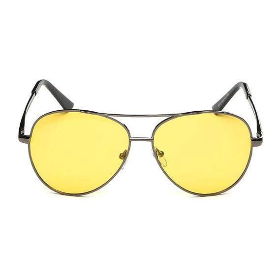 JUNDASI Unisex lente amarilla gafas de estilo clásico aviador marco de metal polarizado gafas de sol: Amazon.es: Ropa y accesorios