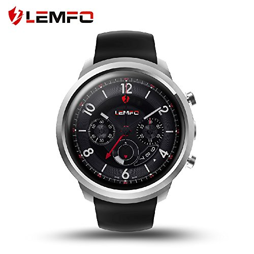 LEMFO LEF2 Android 5.1 Smart Watch Two Modes RAM 512MB ROM 8GB Bluetooth Smartwatch Support Heart Rate Monitor GPS Wifi SIM Card for Android and iOS (Silver)
