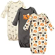Hudson Baby Baby Infant Cotton Gown, 3 Pack, Forest, 0-6 Months