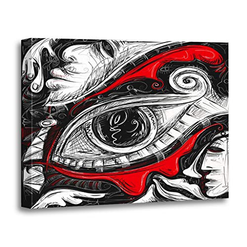 Emvency Painting Canvas Print Wooden Frame Artwork Abstract Red Tears African Cubism Eye Line Decorative 24x32 Inches Wall Art for Home Decor