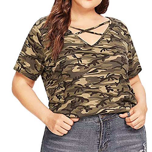 Tops for Women LJSGB Ladies Short Sleeve Tunic Tops Ladies Tops Plus Size Ladies Camouflage Tops Bluses