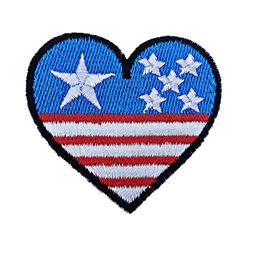 R2K Heart Love America USA Flag Patches Iron on Patch /Embroidered Patch This Appliques Are Great for T-shirt, Hat, Jean ,Jacket, Backpacks.