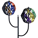 Bits and Pieces - Double Prism 185cm Multi Colored Circular Wind Spinner - Unique Outdoor Wind Sculpture Lawn and Garden Décor