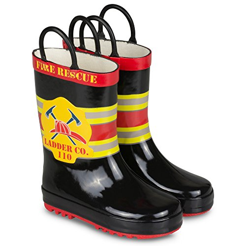 [R195-BLK-5] Boys Rainboots - Black Fireman Rubber Rain Boots, Easy On Handle, Size 5