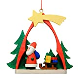"""10-0862 - Christian Ulbricht Ornament - Santa with Sled in Arch - 2.75""""""""H x 2.25""""""""W x 1""""""""D"""