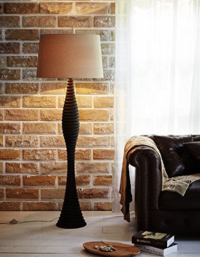 Carved Hand Wood Floors (O'THENTIQUE Hand Carved Wooden Floor Lamp | Dark Solid Mango Wood, Tropical Coastal Design w/ Beige Linen Shade | Perfect Light for Bedroom, Living Room, Modern Contemporary Theme Beach House, Cabin)