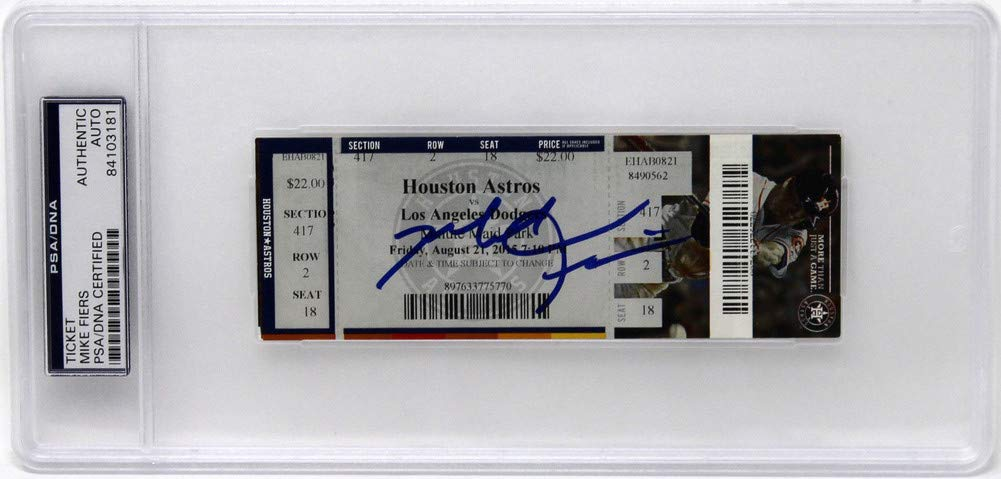 Mike Fiers Autographed Signed No Hitter Original Ticket PSA/DNA Slabbed 84103181