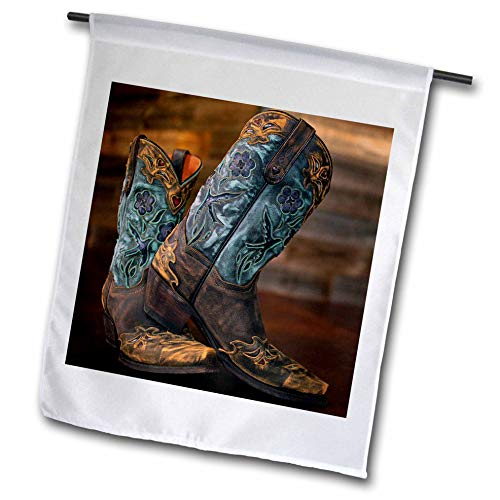 3dRose Stamp City - Fashion - Photograph of a Pair of Cowgirl Boots Against a Rustic Wood Wall. - 18 x 27 inch Garden Flag (fl_292960_2)