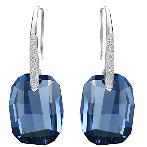 EleQueen 925 Sterling Silver CZ Rectangle Hook Drop Earrings Denim Blue Made with Swarovski ()