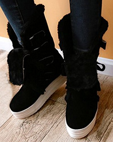 Sfnld Womens Warm Fur Lined Winter Shoes Snow Boots Black Y4YIWUEPt