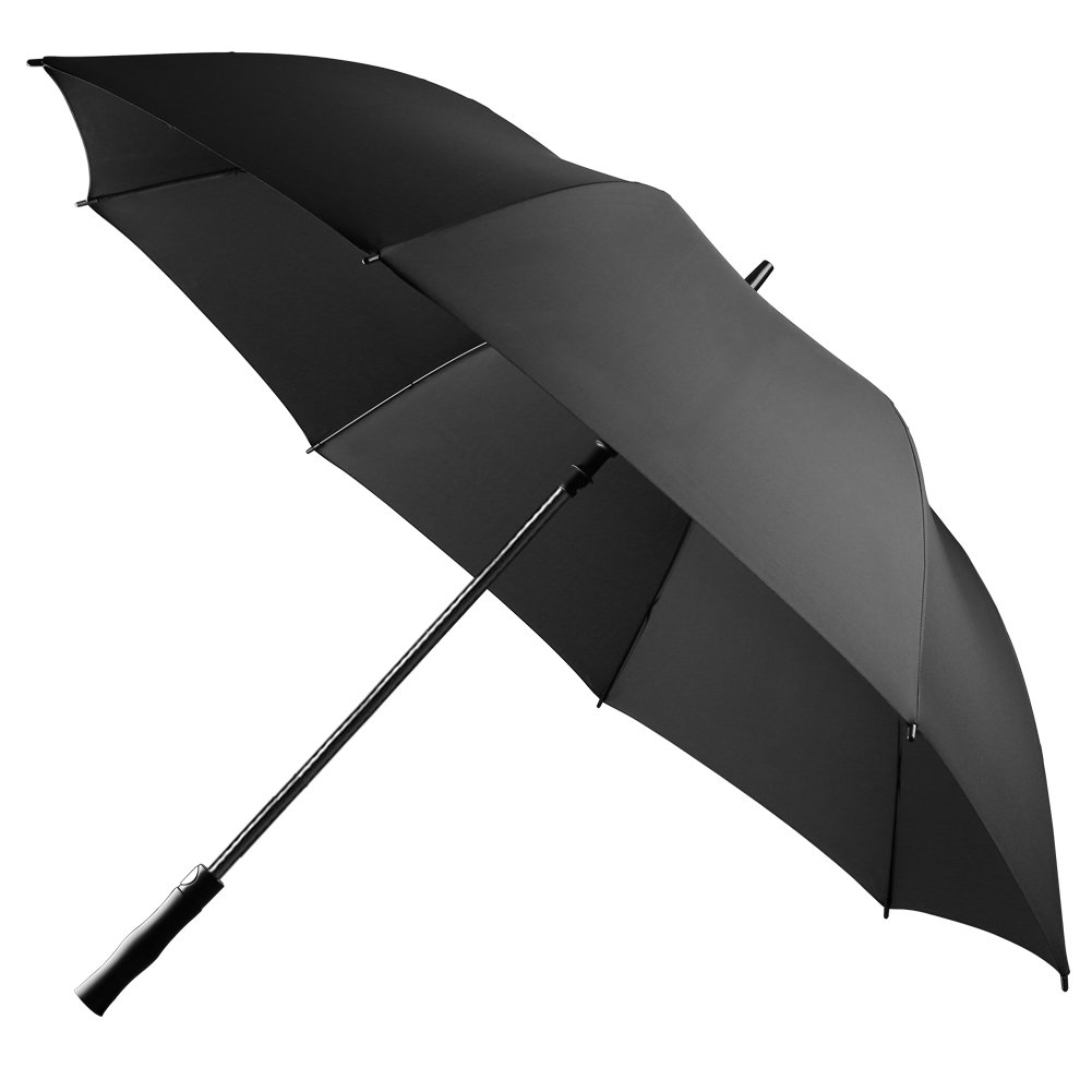 UROPHYLLA Golf Umbrella, 60 Inch Windproof Umbrella Extra Large Oversize Waterproof Umbrella 8 Ribs Automatic Open Stick Umbrella-Black