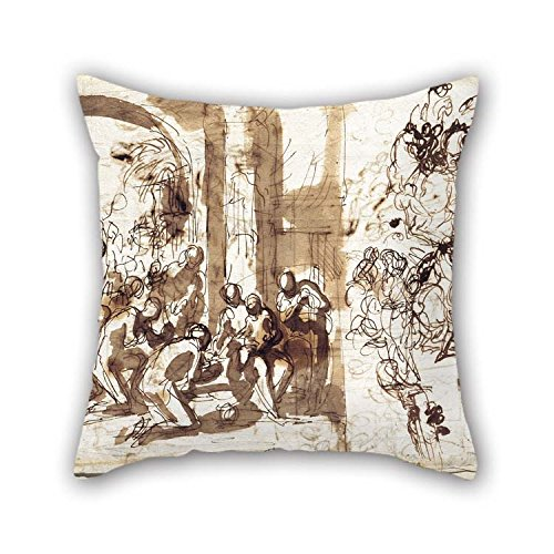 Pillow Cases Of Oil Painting Charles-Alphonse Dufresnoy - The Adoration Of The Magi For Deck Chair Home Christmas Valentine Son Bench 16 X 16 Inches / 40 By 40 Cm(double Sides)