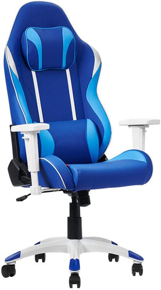 ZXWCYJ Gaming Chair, Ergonomic High Backrest and Seat Height Adjustment Recliner Swivel Rocker, with Headrest and Lumbar Support, 250Kg Weight Limit,Blue