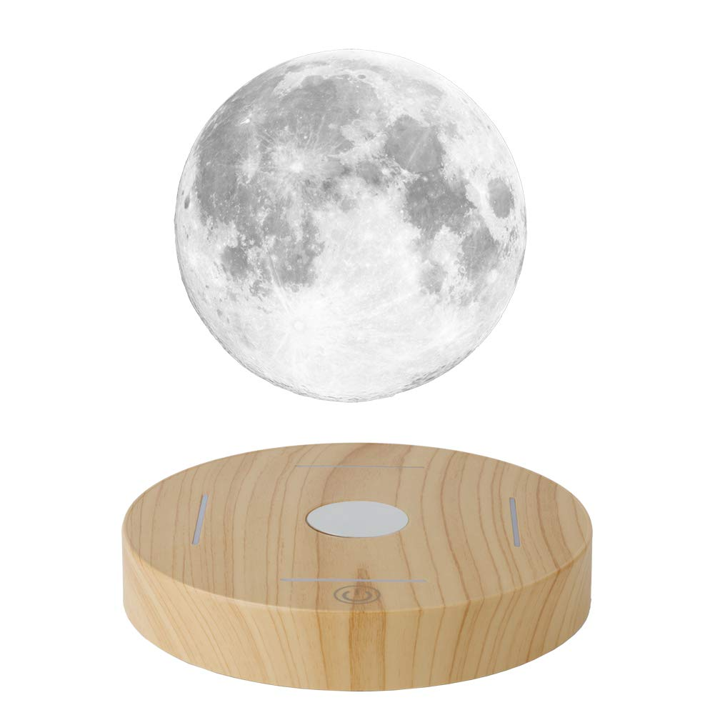 KFISI Moon Lamp, 3D Printing Magnetic Levitation Moon Light Lamps with 360 Auto Rotating and 4 Working Light Modes - for Home、Office Decor, Creative Gift (3.9 Inch)