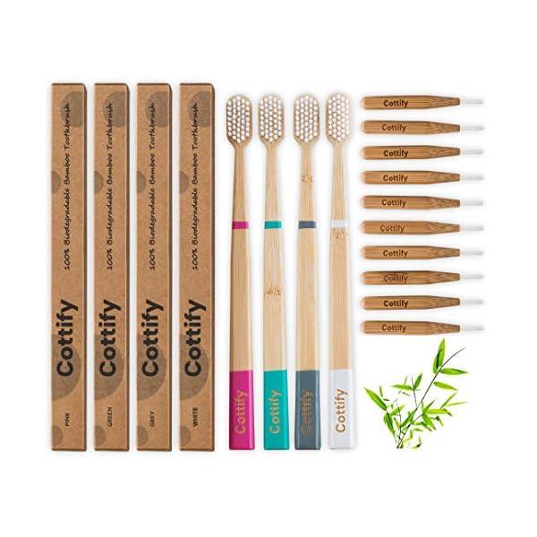 Cottify Pack de 4 Brosses à Dents en Bambou Biologique avec 10 Brossettes Interdentaires/Poils Souples sans BPA…