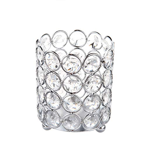 Feyarl Crystal Beads Candle Holder Votive Cylinder Candle Lantern Makeup Brush Holder for Wedding Home Deco(Silver) ()