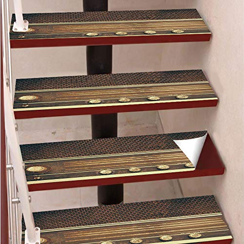 3D Print Non-Slip PVC Stair Pads,Self-Adhesive Steps Sticker,Staircase Treads Protector,Old Antique Retro 60s Radio Music Player Loudspeakers Buttons Image,for Home Decoration(9.8X39 inch) Set of 5PCS ()