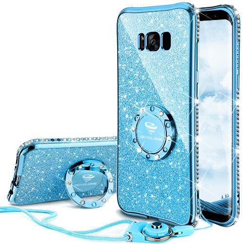 Galaxy S8 Case, Glitter Cute Phone Case Girls with Kickstand, Bling Diamond Rhinestone Bumper Ring Stand Sparkly Luxury Clear Thin Soft Protective Samsung Galaxy S8 Case for Girl Women - Blue